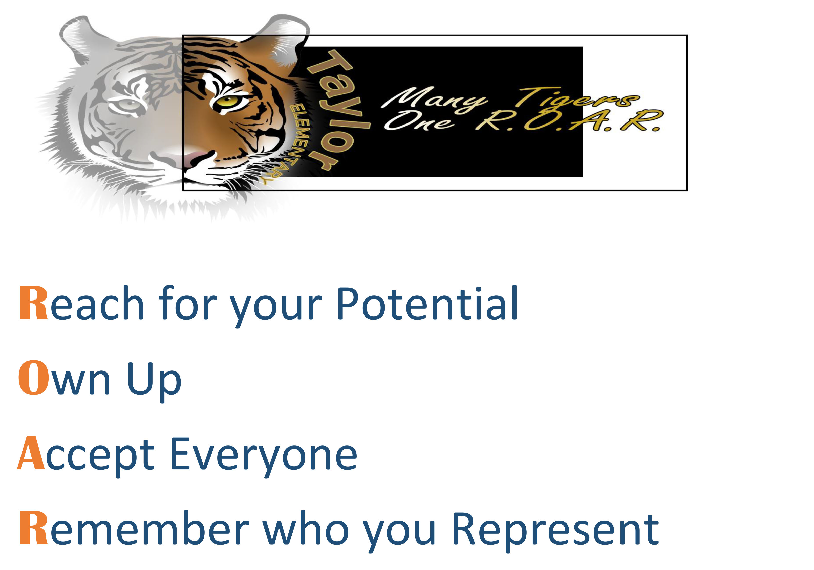 Reach your potential, Own up, Accept Everyone, Remember who you represent